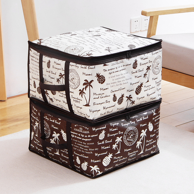 大号有盖收纳箱创意无纺布内置压缩袋被子收纳箱棉被收纳袋整理箱