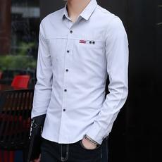 997#长袖衬衫男新款 潮流修身男士衬衣商务休闲百搭纯色衬衫男
