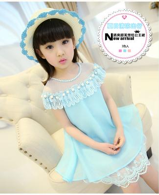 童装女童连衣裙夏装新款小女孩蕾丝公主裙中大童儿童裙子