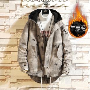 Winter camouflage cotton jacket plus size mid-length padded jacket men's tooling jacket thickened plus cashmere lamb wool padded jacket men