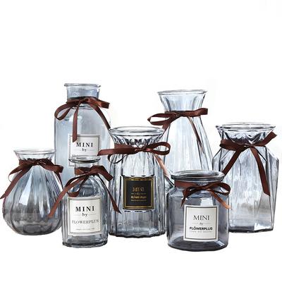 北欧简约创意彩色玻璃花瓶水培绿萝富贵竹鲜花干花插花瓶客厅摆件可领取淘宝优惠券2元