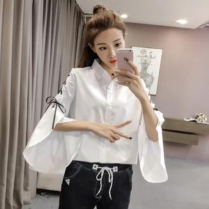 7016实拍现货2017秋季新款喇叭袖白衬衣时尚绑带衬衫女