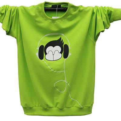 Teen t-shirt kích thước lớn cotton vòng cổ mùa xuân và mùa thu dài tay nam sinh viên T-Shirt cộng với phân bón để tăng của nam giới thể thao áo thun nam form rộng Áo phông dài
