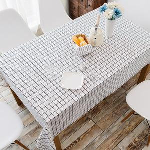 棉麻桌布布艺小清新防水格子餐桌台布北欧长方形简约现代茶几文艺