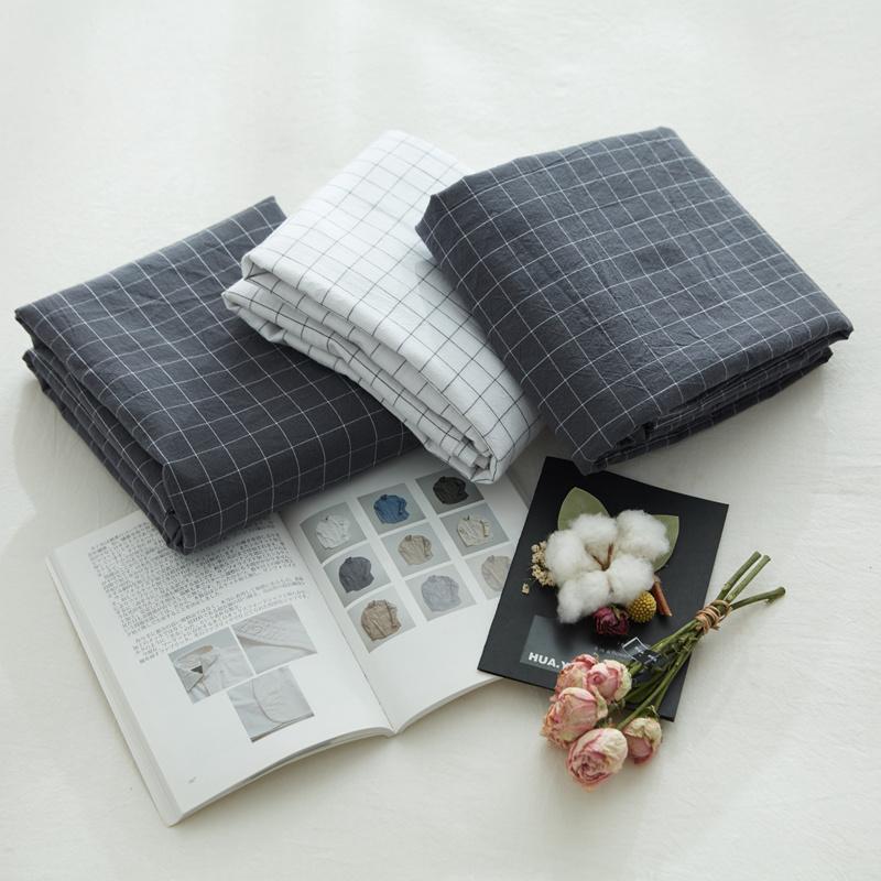 全棉水洗棉被套单件 日系格子条纹被罩1.8米 学生宿舍男生单人1.5