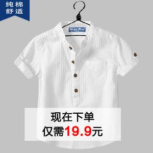 Chàng trai áo sơ mi ngắn tay áo mùa hè trẻ em bé 2018 mới Hàn Quốc phiên bản của hoang dã trắng bông đứng cổ áo ngắn tay áo sơ mi