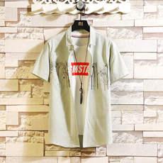 夏季新款男装短袖衬衫韩版修身潮流学生印花衬衣时尚薄款上衣294