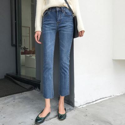 女装新款学院风高腰弹力牛仔裤修身显瘦九分裤微喇叭裤女