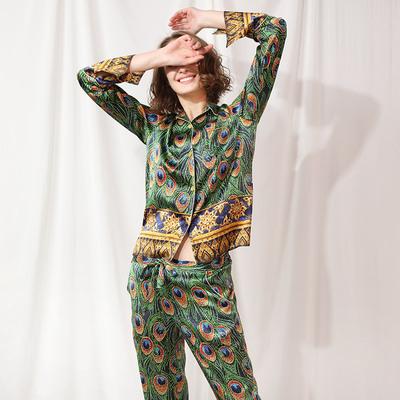 丝绸花园 孔雀 经典法式真丝睡衣套装女定位印花桑蚕丝家居服套装