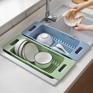 可伸縮廚房水槽洗菜盆瀝水籃