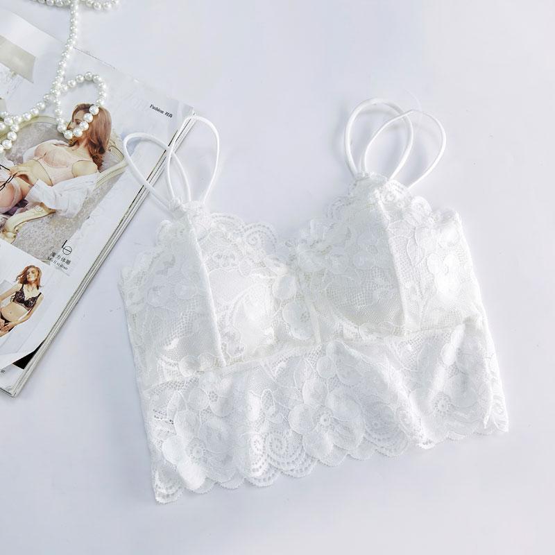 性感蕾丝美背女士裹胸打底吊带白色小背心带胸垫镂空透气抹胸内衣