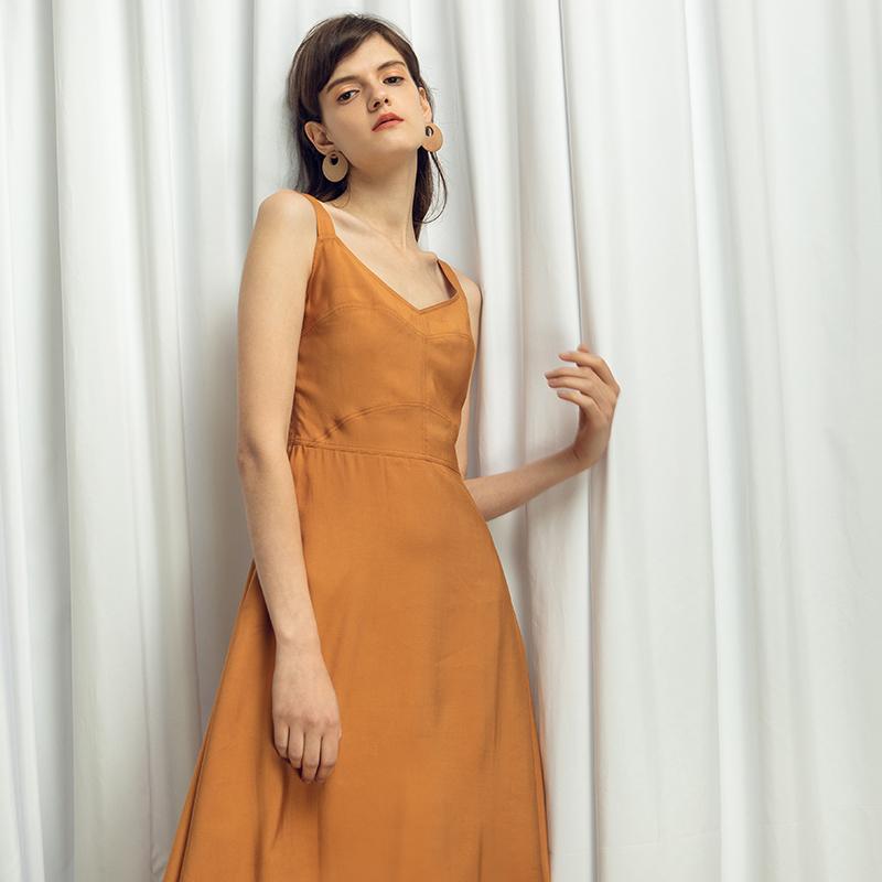 Dưới ánh mặt trời dưới ánh mặt trời | cam vest đầm eo cao đầm retro nhẹ nhàng gió v- cổ dây đeo đầm nữ