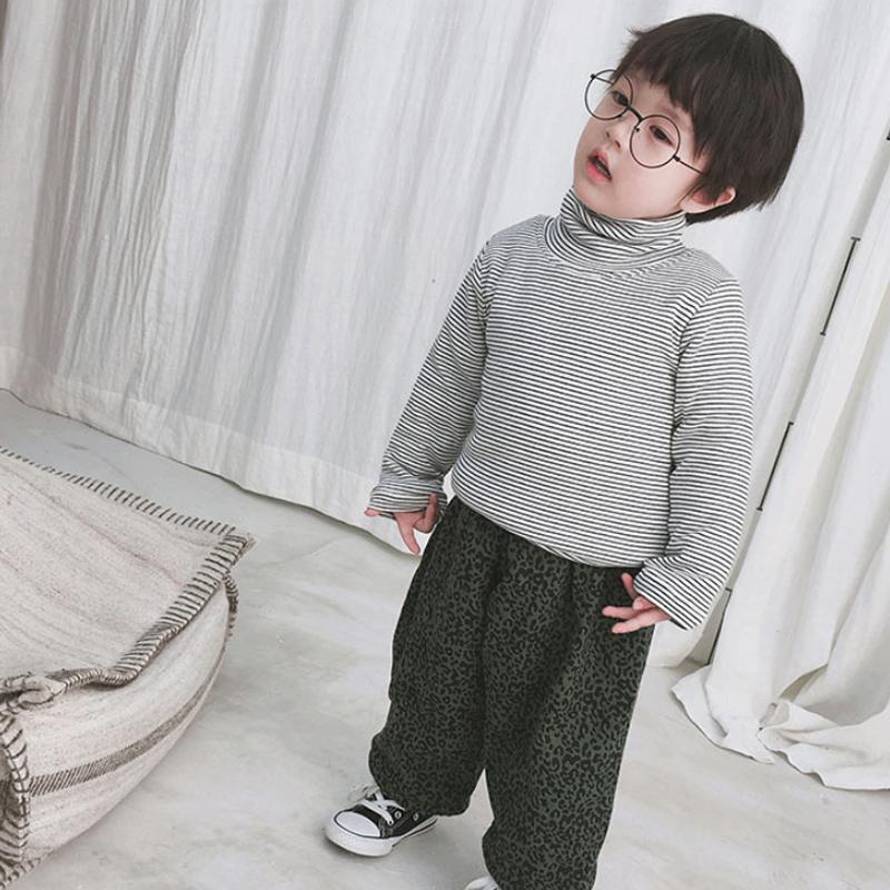 1-6岁男童夹棉超厚保暖衣小棉袄 女宝条纹高领加绒打底衫内穿上衣