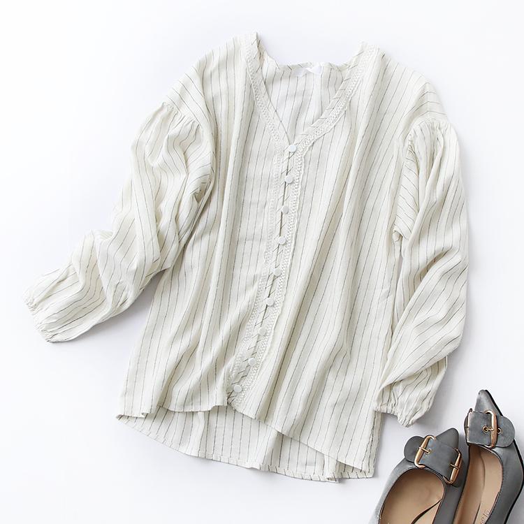 G 30 2018 mùa thu mới của Hàn Quốc phiên bản của hoang dã lỏng V-Cổ áo sọc đơn ngực dài tay áo sơ mi nữ