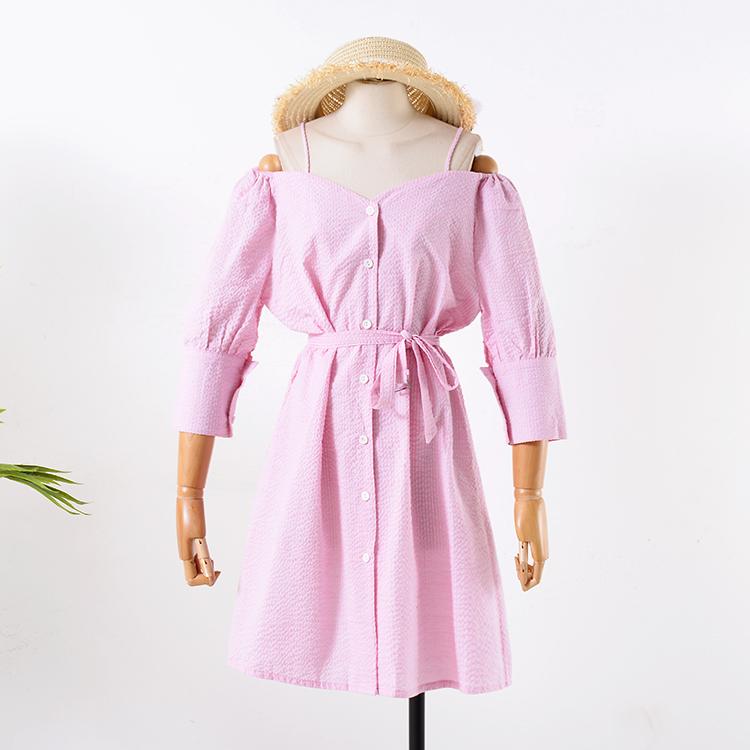 G 25 đầu mùa thu sling quây dài váy đơn giản mùa thu mới 2018 hoang dã đơn ngực dress C