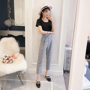 实拍 6691#夏装新款韩版短袖T恤+高腰格子休闲裤子气质两件套