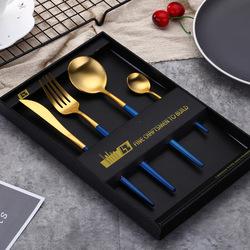 加厚304不锈钢家用镀金色刀叉勺套装西餐餐具甜品勺子牛排刀具