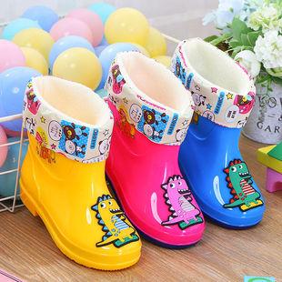 冬季加絨兒童高筒雨鞋男女童卡通水靴