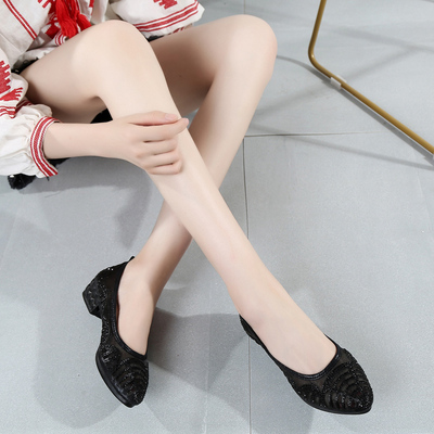 夏季新款女网鞋浅口镂空水钻单鞋优雅时尚网纱女鞋老北京布鞋