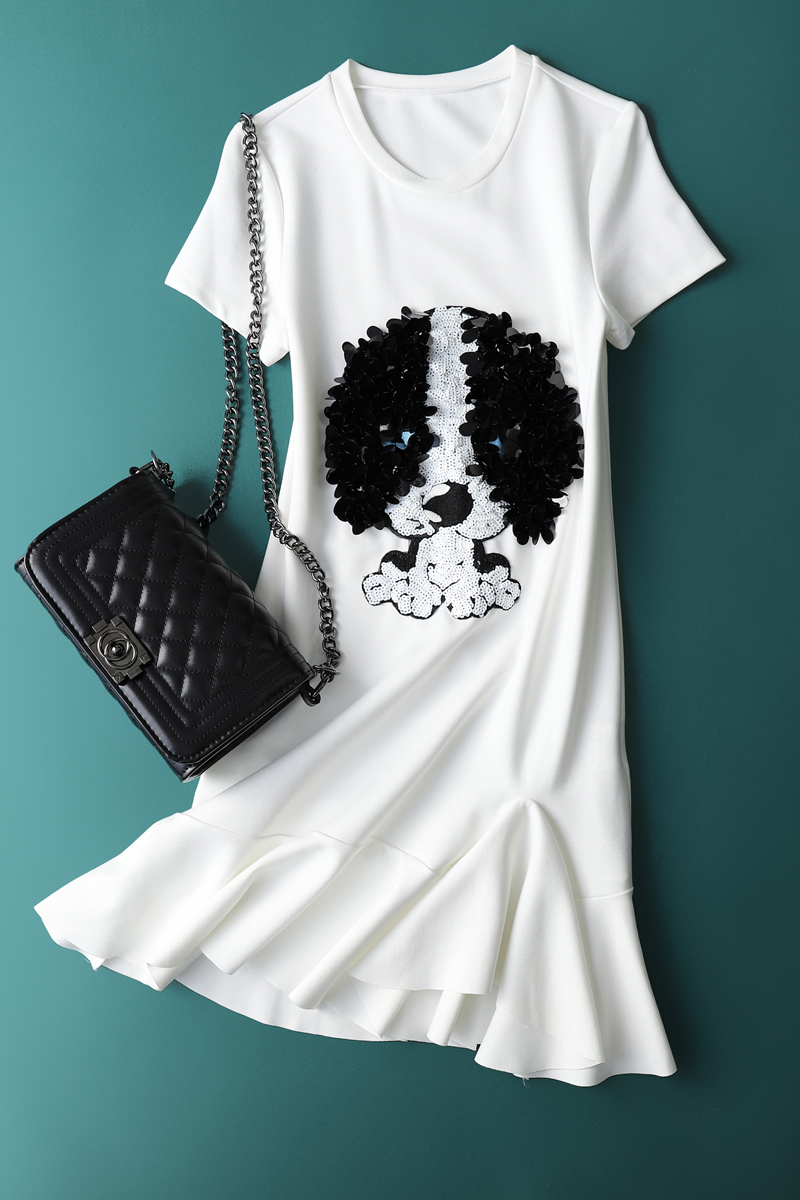 SKYINTL New Slim Xù Hạt Sequins Hạt Mô Hình Con Chó Con Đuôi Cá váy Slim Dress Mùa Hè