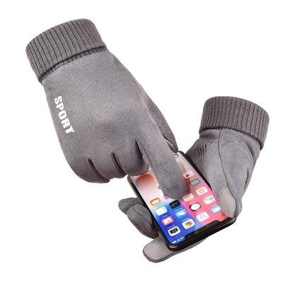 触屏防滑保暖手套男女冬季加绒跑步骑行开车摩托车防风防水棉手套