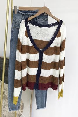 秋季新款时尚百搭条纹纯色简约风女装长袖针织开衫 I#9
