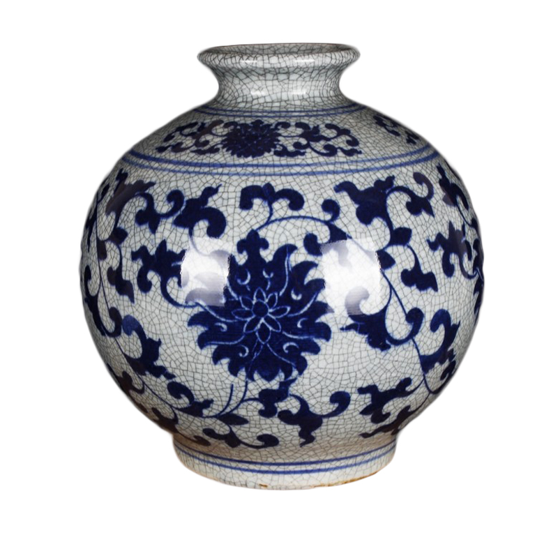 Jingdezhen Ceramics Ancient Blue and White Opening Pieces Home Decoration Simple Living Room Table Flower Arrangement New Chinese Decoration