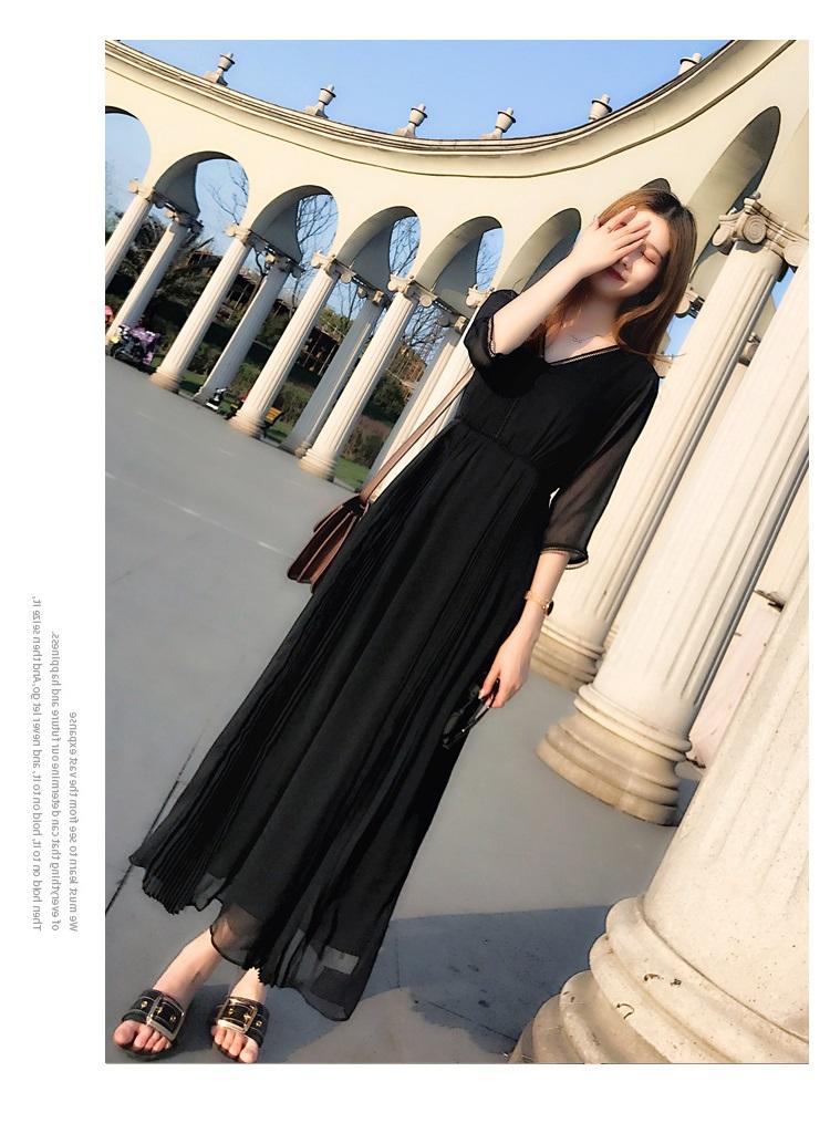 Váy ngắn màu đen Hepburn cổ tích 2020 hè mới váy đen mỏng voan dài cổ chữ V - Sản phẩm HOT