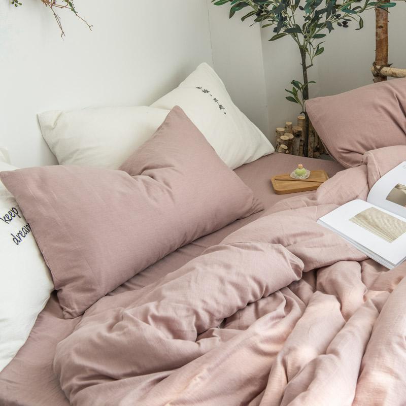 北欧简约全棉水洗棉四件套 树皮皱提花纯棉被套床单床笠床上用品