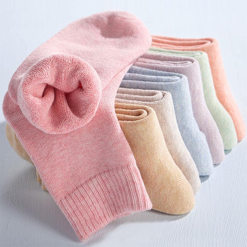 袜子女韩版中筒加厚毛圈袜保暖中筒袜加绒女袜冬季袜子女秋冬