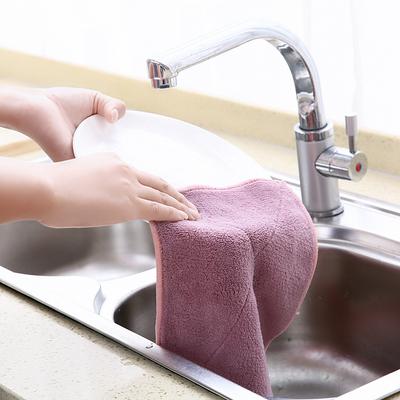 可挂式珊瑚绒擦手巾厨房清洁巾不沾油不掉毛吸水抹布洗碗布清洁布