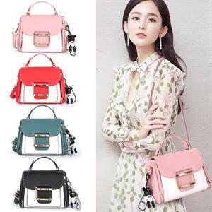 经典时尚女包包女2020夏季新款韩版小方包拼接斜跨包可爱少女PU包