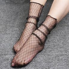 4双装 黑色网纱袜女透肉中筒丝袜堆堆袜