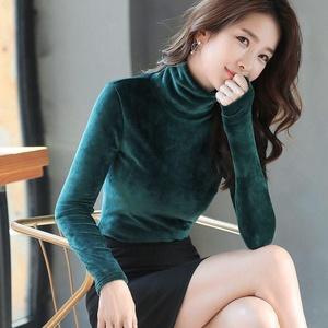 2020春装保暖长袖女士打底衫春秋款金丝绒修身显瘦高领上衣T
