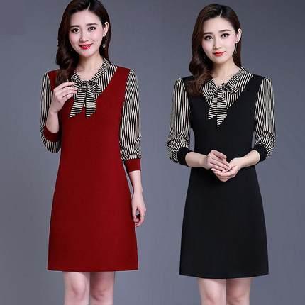 新款春夏季大码女装长袖蝴蝶结条纹连衣裙时尚妈妈装中长款打底裙