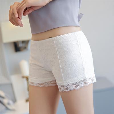 夏季白色蕾丝安全裤防走光打底裤女保险裤可外穿百搭三分短裤
