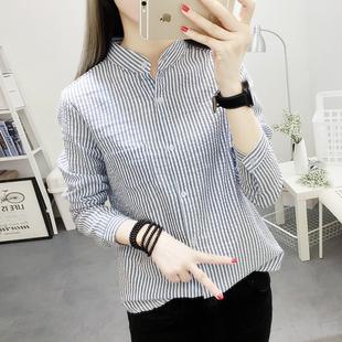 韩版学院风百搭立领条纹长袖衬衫