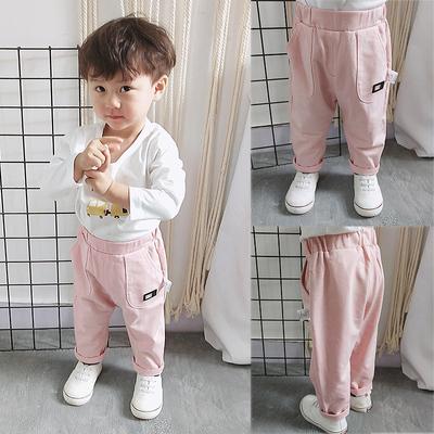 女婴儿童春秋男宝宝牛仔裤子高腰裤子洋气0岁1小童2男童8秋装
