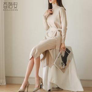 Áo len váy phần dài đầu gối đan áo 2018 mùa thu mới của phụ nữ Hàn Quốc lỏng trùm đầu cao cổ áo len