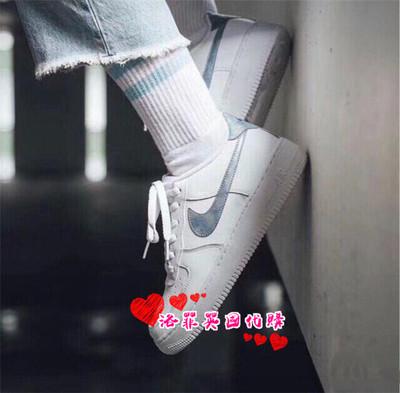 代购Nike AirForce1 low空军一号炫彩雾霾镭射白蓝板鞋314219-131-郑大大鞋业