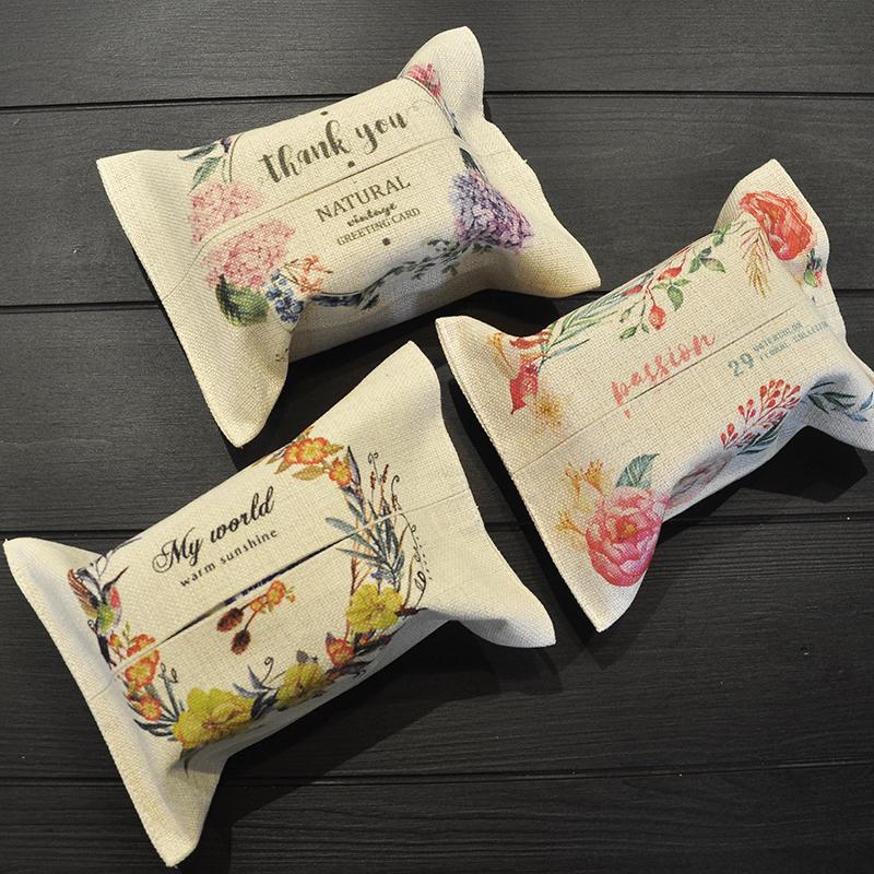 小清新棉麻布艺纸巾袋汽车用抽纸盒车载纸巾盒客厅茶几亚麻纸抽盒