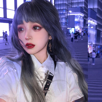 taobao agent Small fry lolita wig female long hair lolita gradient long curly hair net red color lo false hair gradient blue gray