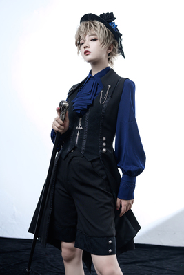 taobao agent 【PC original design】Black and blue vintage lolita medieval little prince gay swallowtail long vest