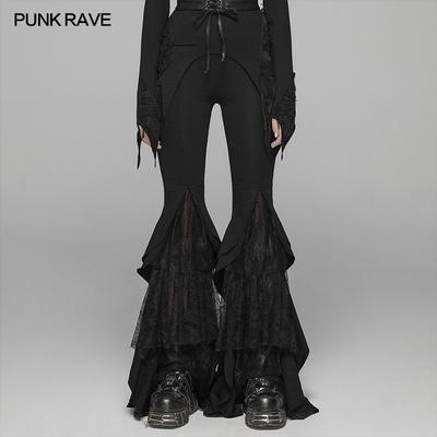 taobao agent PUNK RAVE Gothic big swing pants Gothic flared pants stitching lace dark dance women's clothing