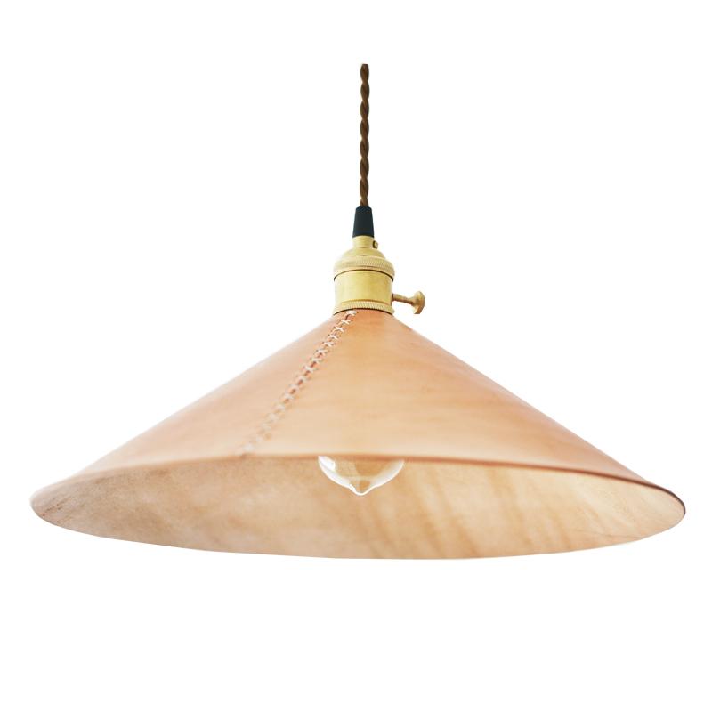 禧緑皮貨原创创意手工制复古黄铜植鞣牛皮灯罩简约吊灯客厅餐厅