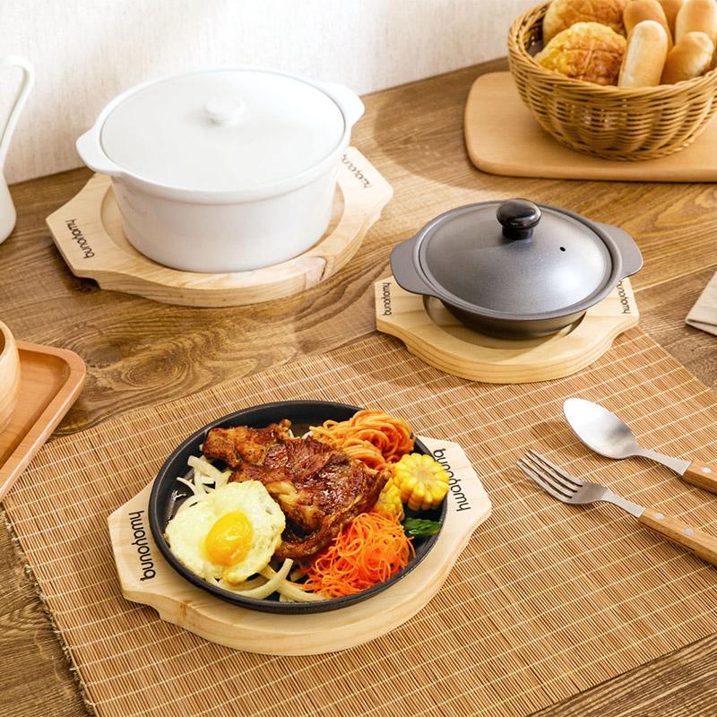 Nhà nhà bằng gỗ chống nóng pad bộ đồ ăn pad nồi placemat soong mat khay bảng mat bát pad cách nhiệt pad