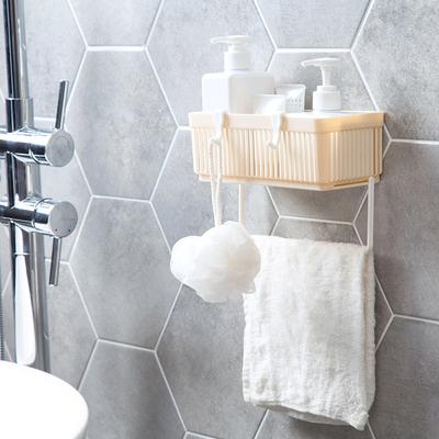居家家免打孔浴室置物架卫生间洗漱挂篮壁挂沥水收纳篮洗澡收纳架