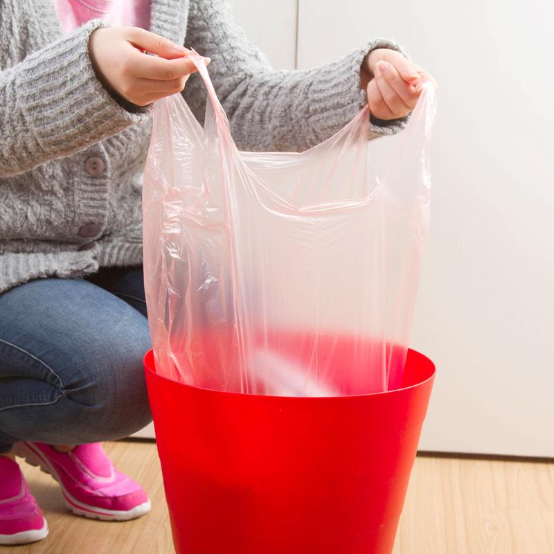 居家家 一次性垃圾袋彩色手提式卷装 加厚背心大号垃圾收纳塑料袋