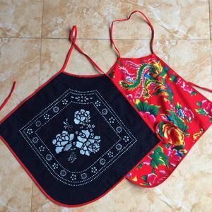 Wuzhen màu xanh in vải tạp dề sling bib retro phong cách quốc gia trang phục múa đồ lót người lớn đông bắc hoa lớn