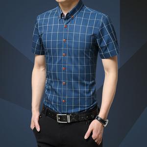 啄木鸟修身款青春流行休闲男士短袖衬衫